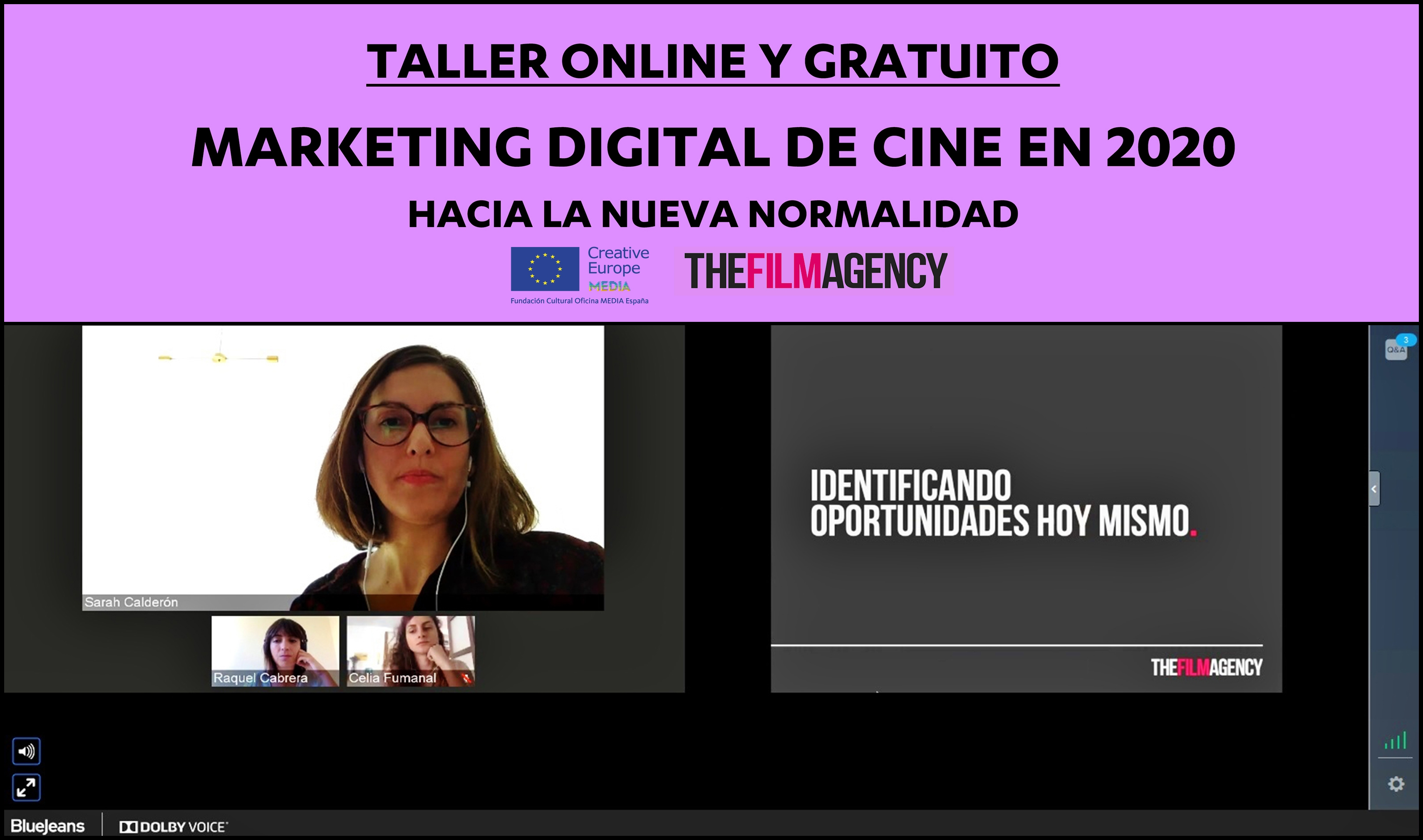 TALLER ONLINE: Vídeo de la sesión sobre marketing digital de cine en 2020 con The Film Agency